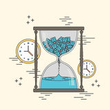 Time is money concept. Hourglass and clocks elements in line style Stock Photography