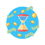 Time is Money Concept. Hourglass Coins Royalty Free Stock Images