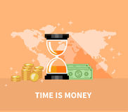 Time is Money Concept. Hourglass Coins Stock Photography