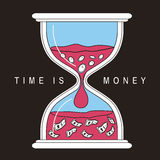 Time is money concept. With hourglass in flat line style Stock Images