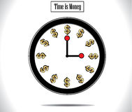 Time is Money Concept Illustration. Using a round wall clock and golden colored dollar sign replacing each hour Stock Photo