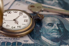 Time and money concept image - old silver pocket watch Royalty Free Stock Images