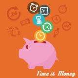 Time is money. Concept, piggy bank and time icons Stock Photography