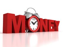 Time is money concept with red alarm clock Stock Images