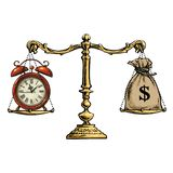 Time is money concept. Sack of dollars and pocket watch on scale. Vector. Time is money concept. Sack of dollars and old pocket watch balance on the scale. Retro vector illustration