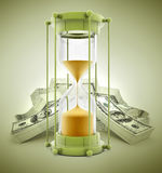 Time is money concept with sand clock and dollars. 3d illustration Royalty Free Stock Photos