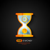 Time is Money concept with sand concept. Creative shiny illustration of sand clock for Time is Money concept Royalty Free Stock Photography