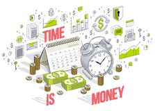 Time is Money concept, table Alarm Clock with cash money stacks. And coin piles isolated on white background. Vector 3d isometric business illustration with Stock Photography