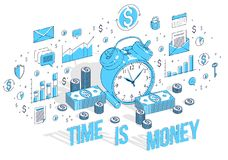 Time is Money concept, table Alarm Clock with cash money stacks. And coin piles isolated on white background. Vector 3d isometric business illustration with Royalty Free Stock Photo