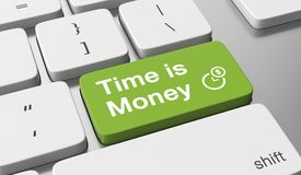 Time is money concept. Time is money text on keyboard button Stock Photo