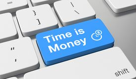 Time is money concept. Time is money text on keyboard button Stock Photos