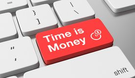 Time is money concept. Time is money text on keyboard button Stock Images