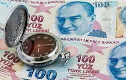 Time is money concept, traditional pocket watch on Turkish lira banknotes Stock Photo