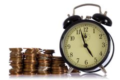 Time is money, concept with uk coins Royalty Free Stock Photo