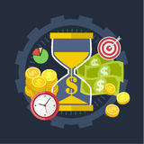 Time is money concept. Vector collection of flat and colorful. Time is money concepts with long shadow. Design elements for web and mobile applications Stock Image
