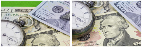 Time money concept vintage watch collage Royalty Free Stock Photography