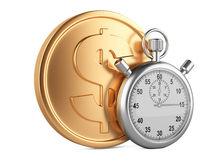 Time is money - 3d illustration of stopwatch and gold coins Royalty Free Stock Photography
