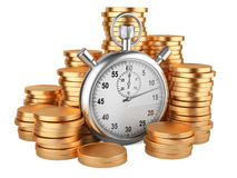 Time is money - 3d illustration of stopwatch and gold coins. Stopwatch and coins - time is money concept. 3d image isolated on a white Stock Photo