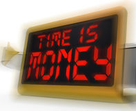 Time Is Money Digital Clock Shows Valuable And Important Resourc Stock Photo