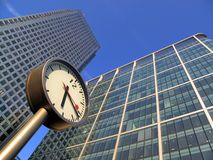 Time is money in Docklands Canary Wharf. Which is the largest business development in East London, built on the site of the old West India Docks on the Isle Of Stock Photos