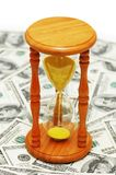 Time is money with dollar no. Tes and  hourglass Royalty Free Stock Image