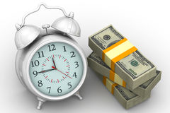 Time is money. Financial concept. Alarm clock and packs of 100 dollar American banknotes on a white surface. Financial concept. 3D Illustration. Isolated Stock Illustration