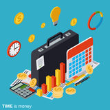 Time is money flat isometric vector concept. Illustration Stock Photos