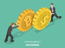 Cryptocurrency exchange flat isometric vector. Time is money flat isometric vector concept. Two men are pushing a bitcoin and a dollar coin towards each other Royalty Free Stock Images