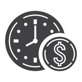 Time Is Money glyph icon, business and finance Royalty Free Stock Image
