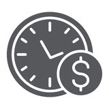 Time is money glyph icon, hour and finance, clock and dollar sign, vector graphics, a solid pattern on a white. Background, eps 10 vector illustration