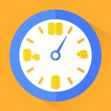Time is money. Gold coins in clock Stock Photos