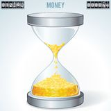 Time is Money. Gold Coins Flowing Inside Hourglass Royalty Free Stock Photography