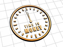 Time is money in golden clock symbol. Time is money with clock - 3d golden metal text and sign, business concept words Royalty Free Stock Photography