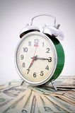 Time is Money Green Old Clock. On the white background Royalty Free Stock Photography