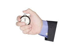 Time is Money. Hand of a businessman holding a stopwatch isolated on white background. Ideal concept for time management Royalty Free Stock Images
