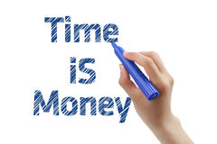 Time is money. Hand draws time is money isolated on white background Royalty Free Stock Images