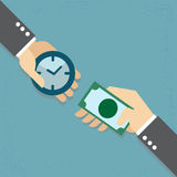 Time is money. Hand exchanging time and money to each other, Time is money concept Royalty Free Stock Images