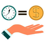 Time is money with hand Stock Images