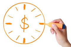 Time is Money. Hand with marker drawing Time is money concept isolated on white Royalty Free Stock Photos