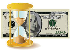 Time Is Money - Hour-Glass And Dollar Bills Royalty Free Stock Photos