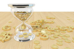 Time and money. Hourglass and coins, money and gold on the desktop, Financial Concepts Royalty Free Stock Photography