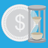 Time is money. Hourglass with silver coin vector Royalty Free Stock Photos