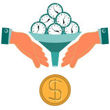 Time is money. Hours, clock turn into gold dollar coin. Stock Photos