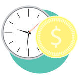 Time and money icon. Clock and golden coin. Vector illustration Stock Images