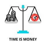 Time is money icon, for graphic and web design. Modern flat editable line design vector illustration, time is money icon, for graphic and web design Royalty Free Stock Image