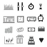 Time and money icons Stock Photos