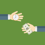 Time Is Money Illustration, People Hand exchanging time with money royalty free illustration