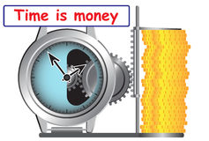 Time is money. Illustration shows relationship between time and money Stock Images