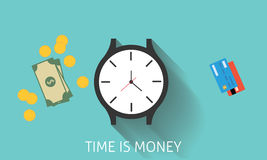 Time is money or invest in time. Witch watch, cash money, gold coins, and credit  card Stock Image