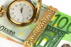 Time, money, jewelry Stock Image